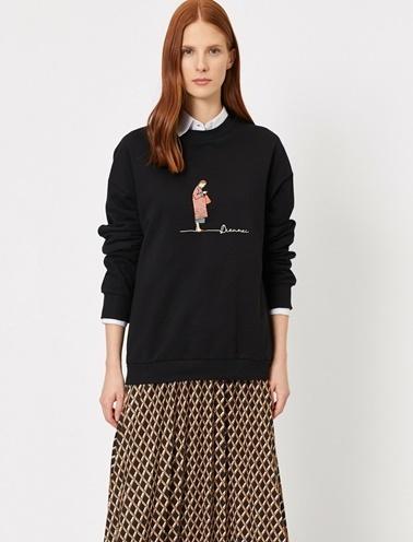 Koton İşlemeli Sweatshirt Siyah